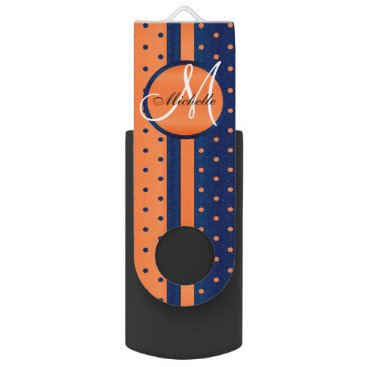 Aztec Themed Navy Blue and Orange Polka Dot Design USB Flash Drive