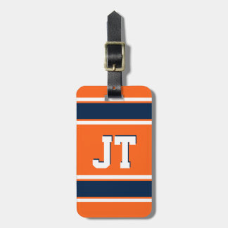 Navy Blue and Orange Sports Stripes Personalized Bag Tag