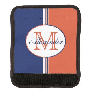 Navy Blue and Orange Stripes Monogram Handle Wrap