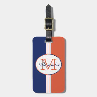 Navy Blue and Orange Stripes Monogram Luggage Tag