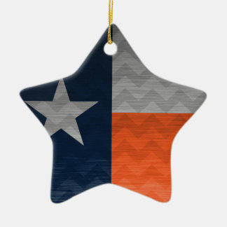 Navy Blue and Orange Texas Flag Brushed Metal Chev Ceramic Ornament