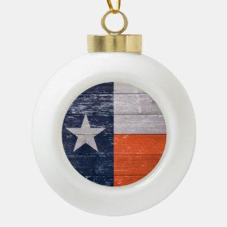 Navy Blue and Orange Texas Flag Ceramic Ball Christmas Ornament