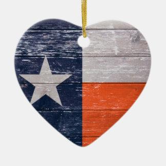 Navy Blue and Orange Texas Flag Ceramic Ornament