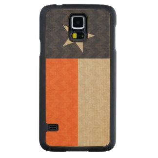 Navy Blue and Orange Texas Flag Fabric Chevron Carved® Maple Galaxy S5 Slim Case