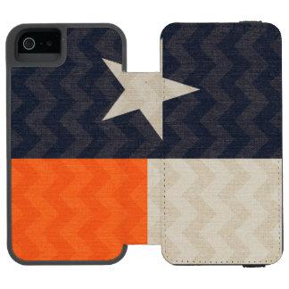 Navy Blue and Orange Texas Flag Fabric Chevron Incipio Watson™ iPhone 5 Wallet Case