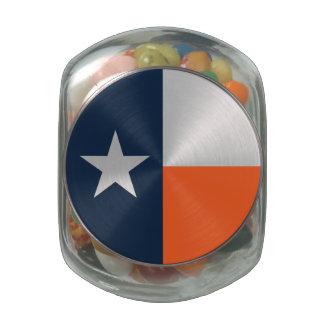 Navy Blue and Orange Texas Flag Glass Jar