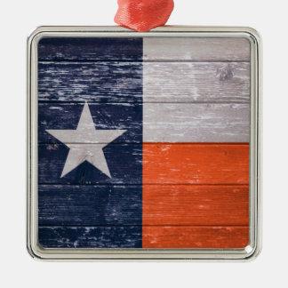 Navy Blue and Orange Texas Flag Metal Ornament