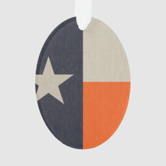Navy Blue and Orange Texas Flag Ornament