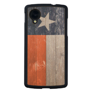Navy Blue and Orange Texas Flag Painted Old Wood Carved® Maple Nexus 5 Case
