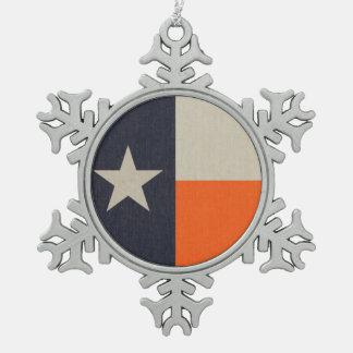 Navy Blue and Orange Texas Flag Snowflake Pewter Christmas Ornament
