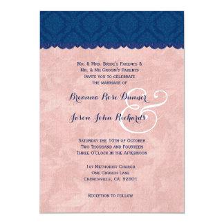 Navy Blue and Peach Damask Wedding V005 Card