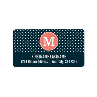 Navy Blue and Peach Polka Dots Custom Monogram Label