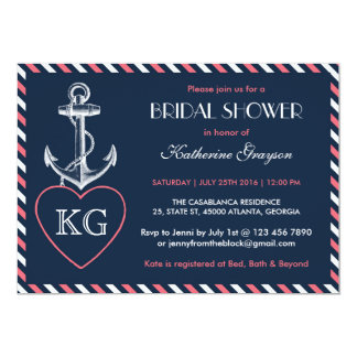 Navy Blue and Pink Anchor Love Shower Invitation