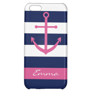 Navy Blue and Pink Anchor Monogram Case Cover For iPhone 5C