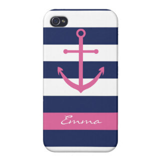 Navy Blue and Pink Anchor Monogram Case iPhone 4/4S Case