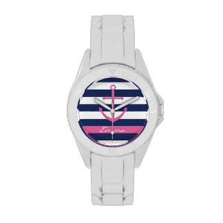 Navy Blue and Pink Anchor Monogram Watch