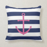 Navy Blue and Pink Anchor Pillow