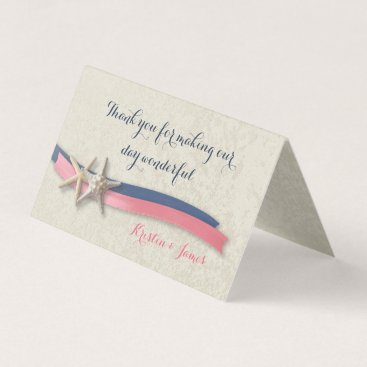 Beach Themed Navy Blue and Pink Beach Starfish and Ribbon Place Card