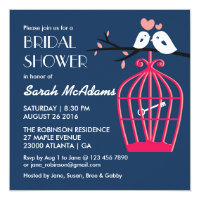 Navy Blue and Pink Bird cage Lovebirds Invitation