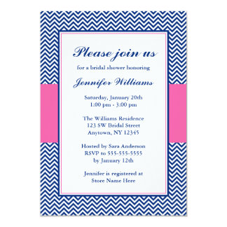 Navy Blue and Pink Chevron Bridal Shower Card