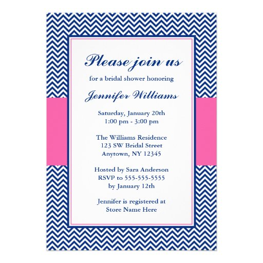 navy_blue_and_pink_chevron_bridal_shower_invitation ...