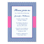 Navy Blue and Pink Chevron Bridal Shower 5x7 Paper Invitation Card