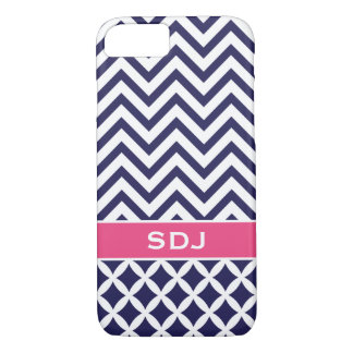 Navy Blue and Pink Chevron Custom Monogram iPhone 8/7 Case