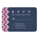 Navy Blue and Pink Chevron RSVP Card for Wedding