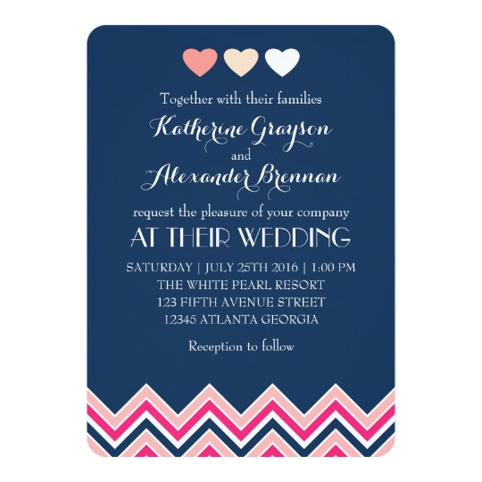 Pink And Navy Blue Wedding Invitations: Navy Blue And Pink Chevron Wedding Invitation Love