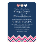 Navy Blue and Pink Chevron Wedding Invitation Love