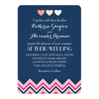 "Navy Blue and Pink Chevron Wedding Invitation Love 5"" X 7"" Invitation Card"