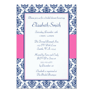Navy Blue and Pink Damask Bridal Shower 5x7 Paper Invitation Card