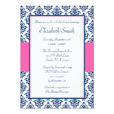 Navy Blue and Pink Damask Bridal Shower Card at Zazzle