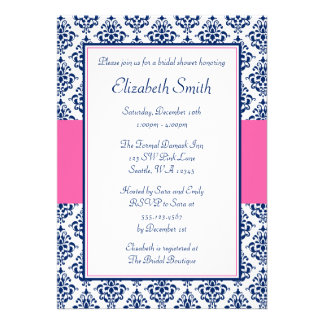 Navy Blue and Pink Damask Bridal Shower Invitations