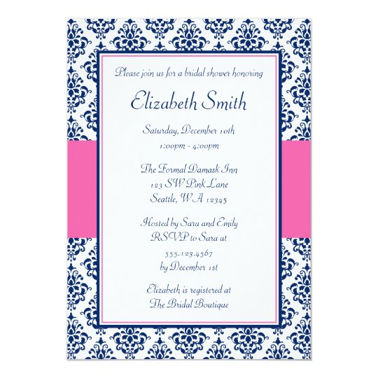 Red And Pink Wedding Invitations: Navy Blue And Pink Damask Bridal Shower Invitation