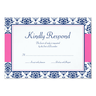 Navy Blue and Pink Damask Response Card