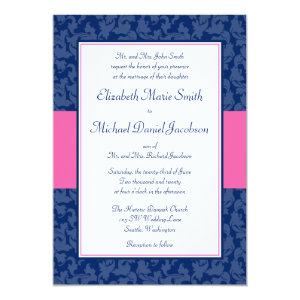 Navy Blue and Pink Damask Swirl Wedding Invitation 5
