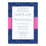 Navy Blue and Pink Damask Swirl Wedding Invitation