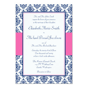 Navy Blue and Pink Damask Wedding Invitations 5