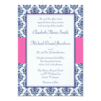 Navy Blue and Pink Damask Wedding Invitations