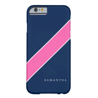 Navy Blue and Pink Diagonal Stripe Personalized Barely There iPhone 6 Case