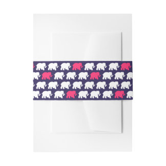 Navy blue and pink elephants belly band