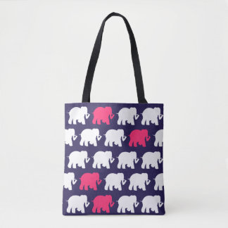 Navy blue and pink elephants design bag