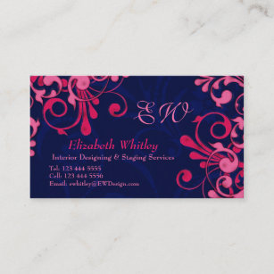 Midnight blue and pink business cards zazzle navy blue and pink floral business card template fbccfo Images