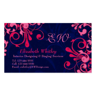 Navy Blue and Pink Floral Business Card Template