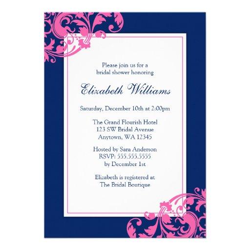 Navy Blue and Pink Flourish Swirls Bridal Shower Personalized Invites