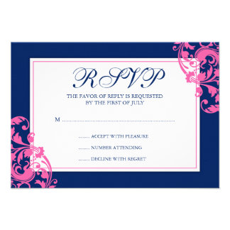 Navy Blue and Pink Flourish Swirls Response Card Personalized Announcements