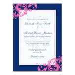 Navy Blue and Pink Flourish Swirls Wedding 5x7 Paper Invitation Card
