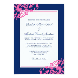 Navy Blue And Pink Flourish Swirls Wedding Card