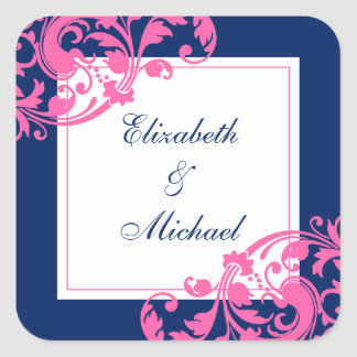 Navy Blue and Pink Flourish Swirls Wedding Square Sticker